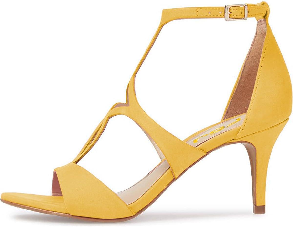 FSJ Women Strappy Ankle Strap Sandals Open Toe Kitten Low Heels Caged Cutout Fashion Shoes Size 4-15 US