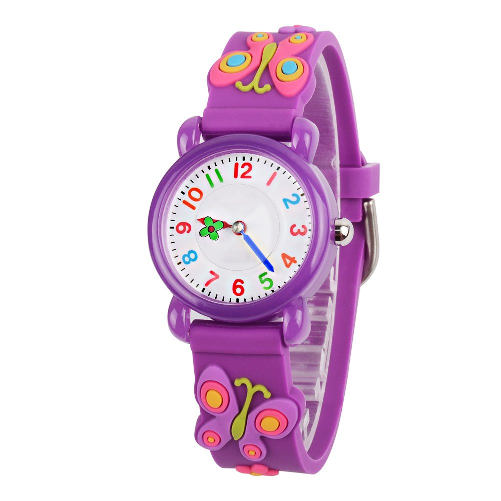 Venhoo Kids Watches 3D Waterproof Silicone Children Toddler Wrist Watch Time Teacher Birthday Gifts for 3-10 Year Old Kids Girls-Purple Butterfly by Venhoo
