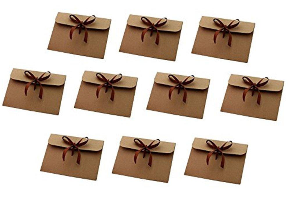 Vikenner 10 Pcs Premium Mini Kraft Envelopes Retro Bow Envelopes with Ribbon for Birthday Greeting Cards - Brown - 12.6*17.3cm
