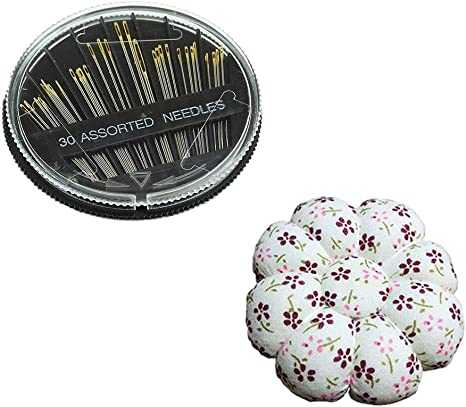 Auony Sewing Needle Pin Cushion with 30-Count Hand Sewing Needles for Needlework