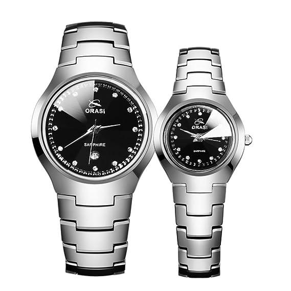 Hombres y mujeres pareja relojes/Relojes de cuarzo resistente al agua/Retro de acero