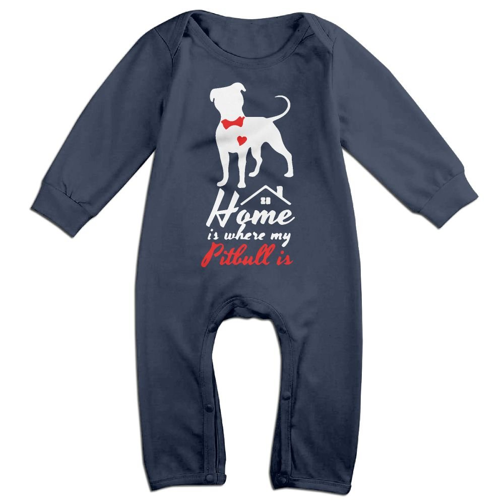 Mri-le1 Baby Boy Girl Organic Coverall Home is Where My Pitbull is-1 Kid Pajamas