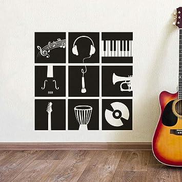 TYLPK Instrumento musical set calcomanía de pared batería guitarra ...