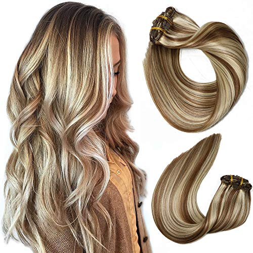 Clip In Human Hair Extensions Mixed Bleach Blonde Extension Clip in Thickened Double Weft Brazilian Balayage Ombre Hair 120g 7pcs Full Head Silky Straight 100% Human Hair Clip In Extensions 14 Inch