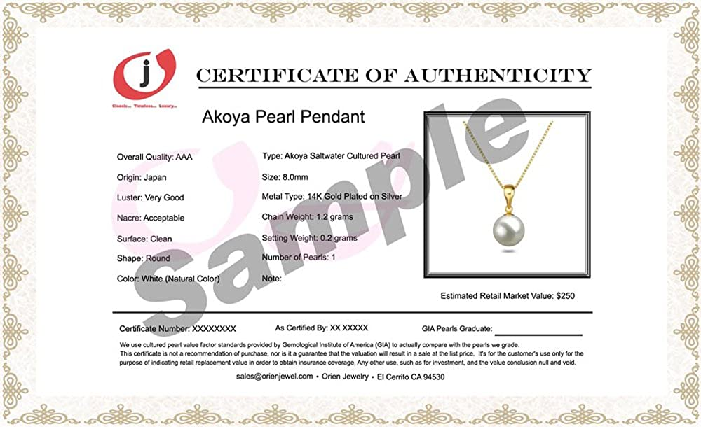 White AAA 6-9mm Akoya Cultured Pearl Pendant Necklaces 16//18 Sterling Silver Chain Necklace Pendants