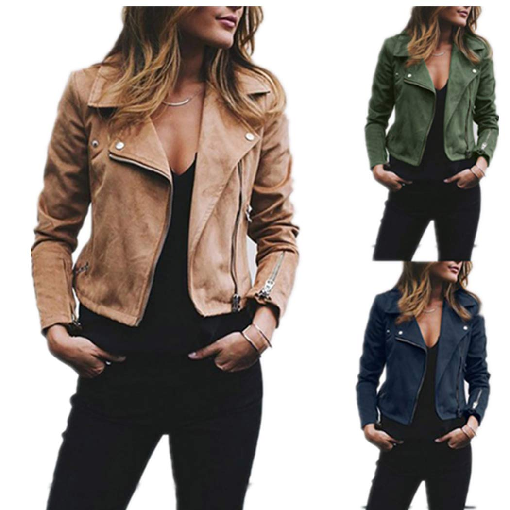 Amazon.com: DICPOLIA Womens Ladies Retro Rivet Zipper Up Bomber Jacket Casual Coat Overcoat Outwear: Clothing