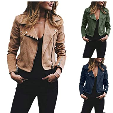 DICPOLIA Womens Ladies Retro Rivet Zipper Up Bomber Jacket Casual Coat Overcoat Outwear (S,