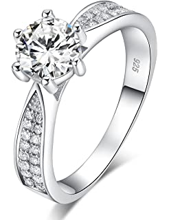 Meyiert Women Stylish S925 Sterling Silver Round Zircon Cut CZ Anniversary Engagement Wedding Rings PrlC3a08i
