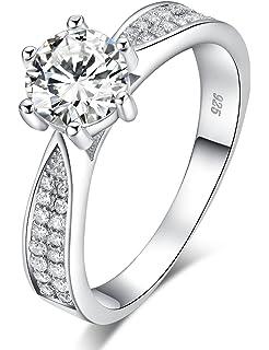Meyiert Women Stylish S925 Sterling Silver Round Zircon Cut CZ Anniversary Engagement Wedding Rings