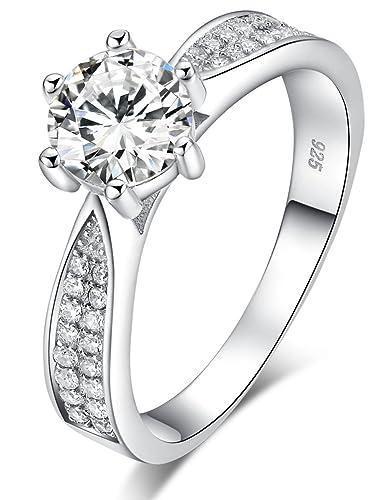 Sreema London 925 Sterling Silver Brilliant Round Cut Crystals Engagement / Wedding Ring 5YY1OF
