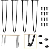 """Genius Iron 28"""" Hairpin Table Legs 1/2'' Rods with Industrial Heavy Duty Steel, Set of 4 Modern Satin Black Metal Furniture L"""