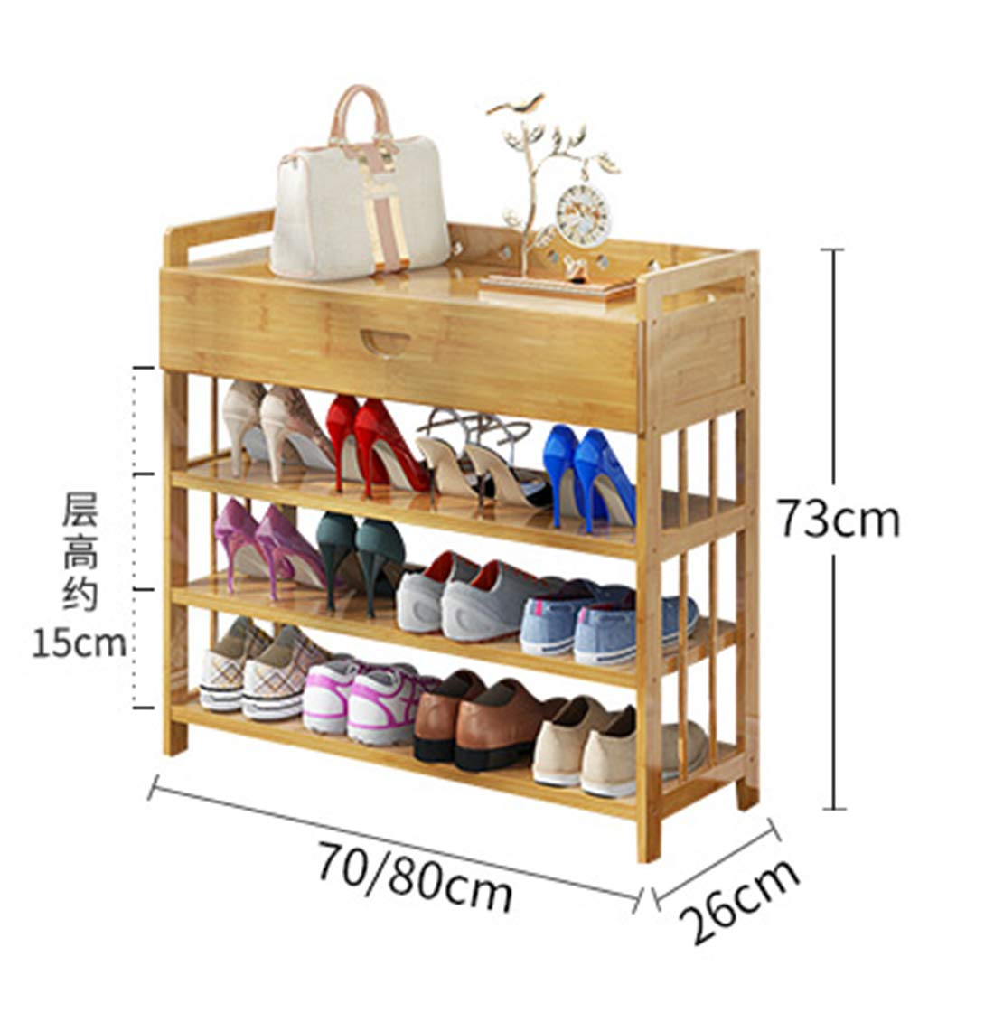 Enolla Multi-Layer Storage Rack with Drawers Simple Personality Bamboo Plant Frame Living Room Bedroom Environmental Health,802673cm