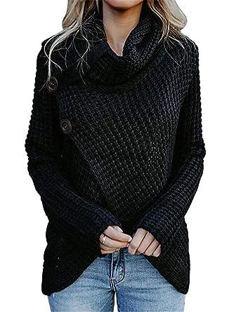 239d5352dea4 FIYOTE Women Long Sleeve Turtleneck Chunky Wrap Knit Cardigan ...