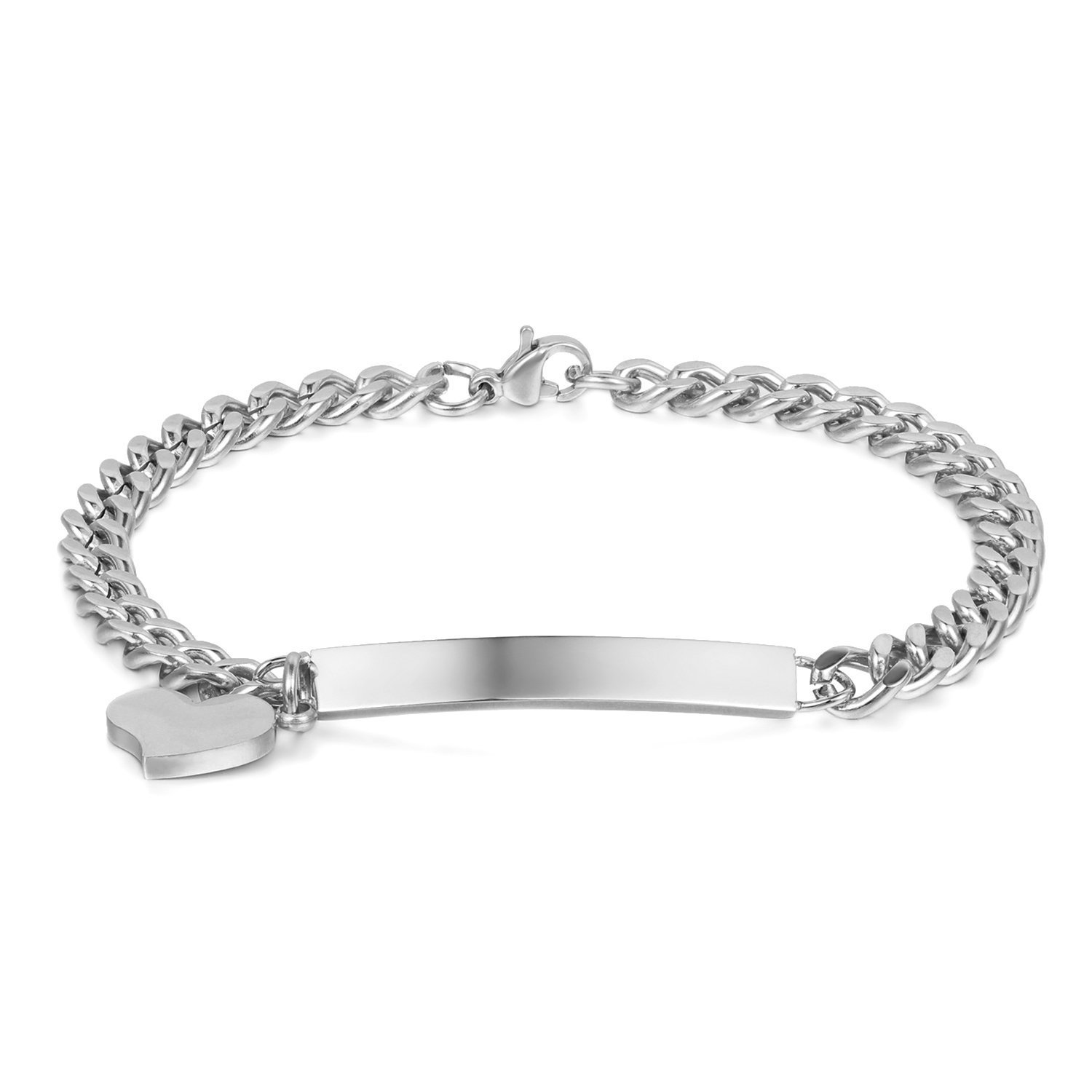 Free Engraving Womens Heart Charm ID Bracelet Stainless Steel Tag Link Wrist, 8 inches Blowin BW1P1002022N