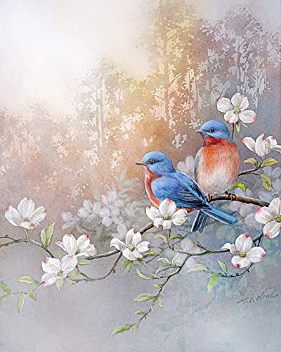 Instant Download Blue Bird and flowers Watercolor Wall Art Prints