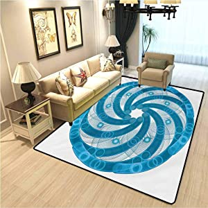 Spires Modern Design Area Rugs Computer Rendered Abstract Fractal Design Rotary Turning Futuristic Hole Tube Whirl Design Carpet for Baby Room,Dollhouse Carpet Blue W6xL7 Ft