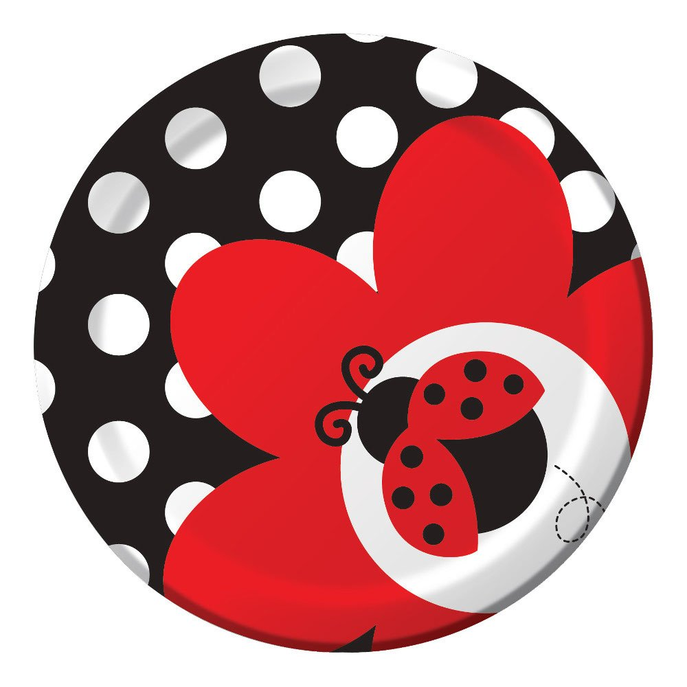 Luncheon Napkins 16 Dessert Plates Stickers Adorable Ladybug Paper Plates and Napkins Set A Cute Bug Themed Party Cups and Table Cover Ladybug Fancy Party Supplies Pack for 16 Guests