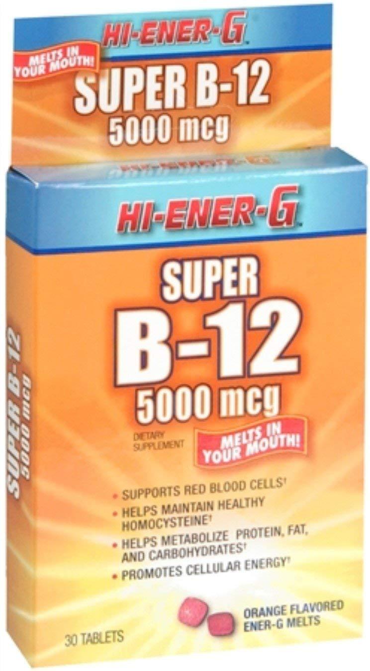 Hi-Ener-G Super B-12 5000 mcg Tablets 30 Tablets (Pack of 6)