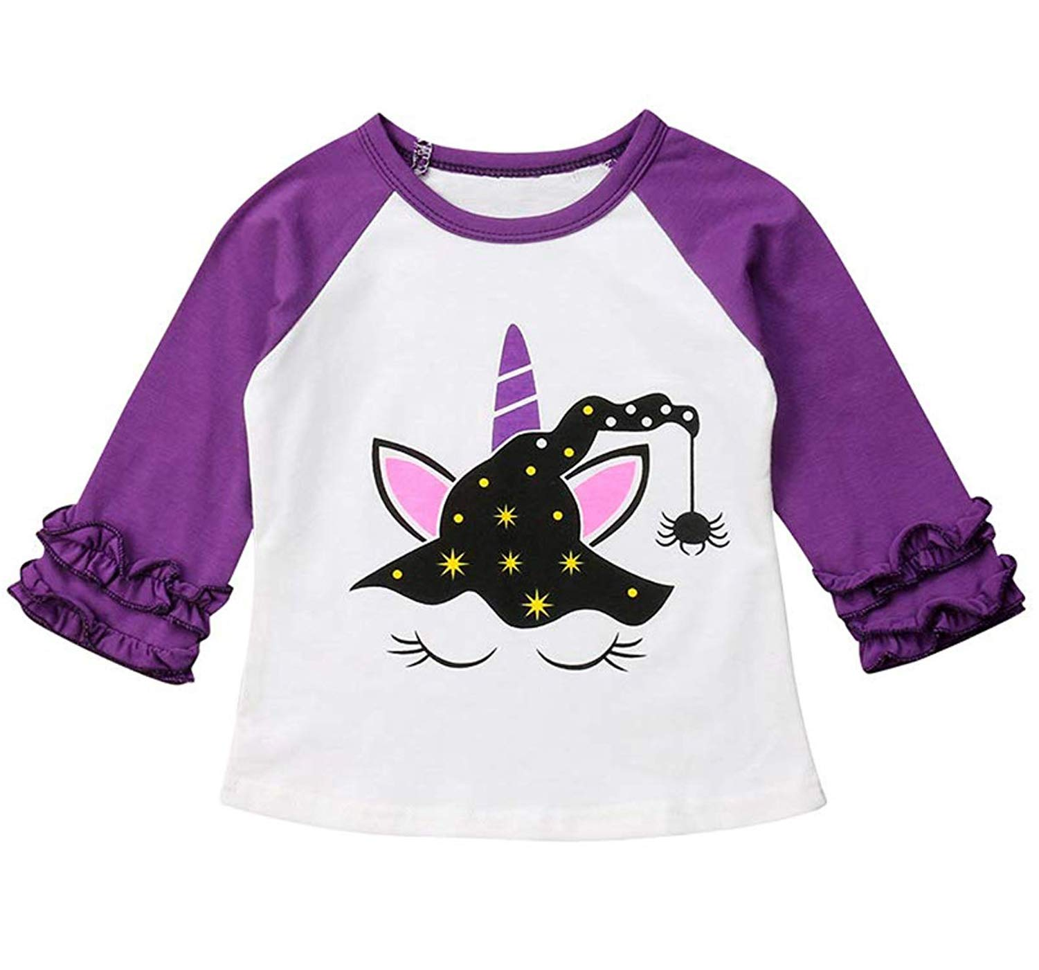 Toddler Kids Baby Girl Unicorn Pumpkin Ruffles Long Sleeve T-Shirt Tops Outfits