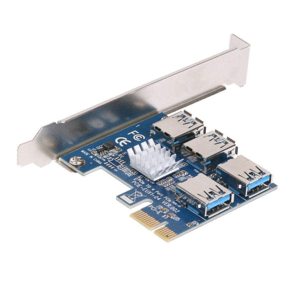BGNing PCI-E 1 to 4 PCI express 16X slots Riser Card PCI-E 1X to External 4 PCI-e Slot Adapter PCIe Multiplier Card for Bitcoin Miner