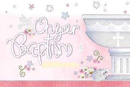 Tarjeta de bautizo - en su bautismo día para niño o niña ...