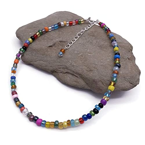 Plus Size Beaded Anklet Multi-Color Glass Seed Bead Mix XL to XXL Adjustable 12-13.5 inches