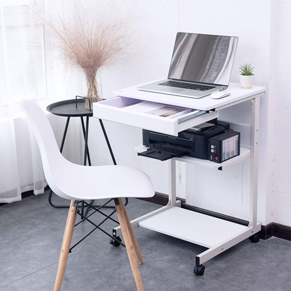 LIULIFE Mobile Computer Desk On Wheels Writing Desk PC Table for Small Spaces, Workstation for Home Office,White by LIULIFE (Image #2)