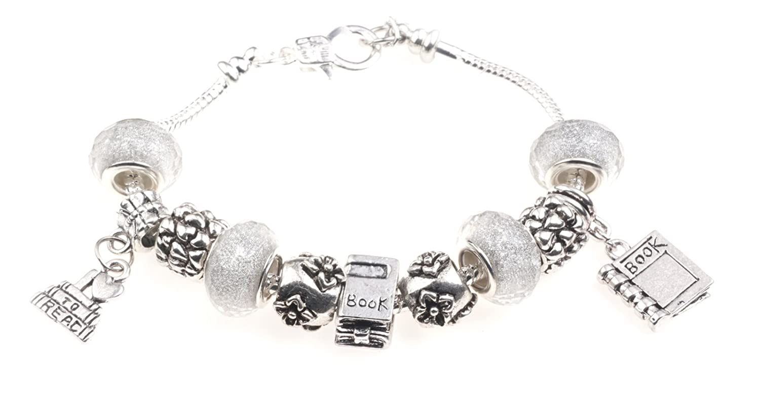 'Bookworm' Reading Themed Charm Bracelet with Gift Box Women's Jewellery Jewellery Hut BR4Lovetoread