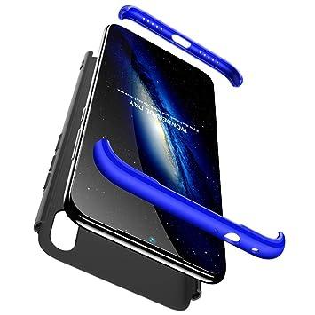 Compatible Xiaomi Redmi Note 7/7Pro Funda(2018)Carcasa 360° ultra fina Protectora cojín+Vidrio Templado Pantalla Protector,3 in 1 Hard Caja Caso Skin ...