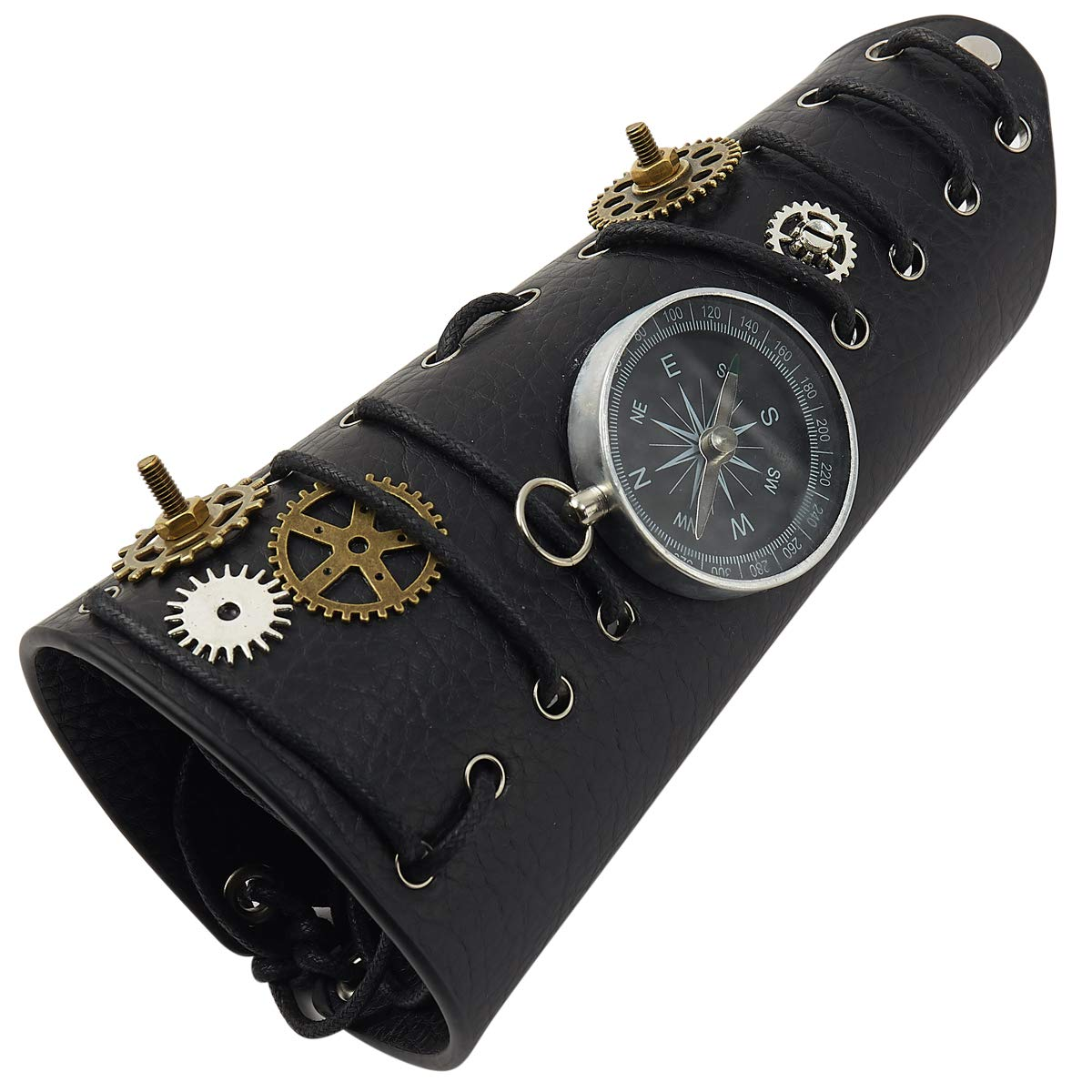 Men's Steampunk Goggles, Guns, Gadgets & Watches KOGOGO Steampunk Arm Armors Leather Bracers Medieval Viking Armguards $21.99 AT vintagedancer.com