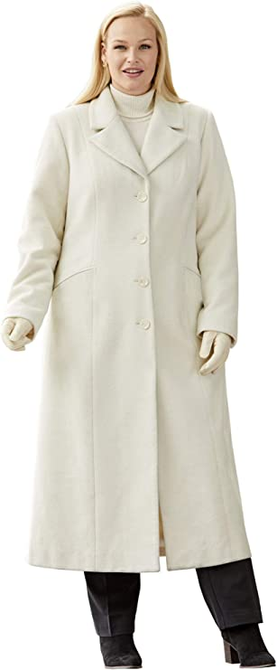1940s Style Coats and Jackets for Sale Jessica London Womens Plus Size Full Length Wool Blend Coat $144.10 AT vintagedancer.com