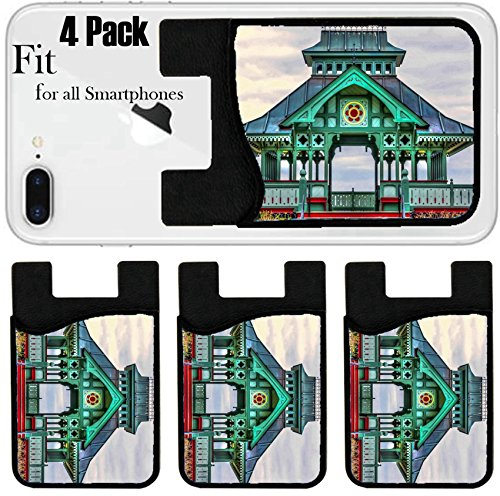 Cat Gazebo (Liili Phone Card holder sleeve/wallet for iPhone Samsung Android and all smartphones with removable microfiber screen cleaner Silicone card Caddy(4 Pack) IMAGE ID: 18079174 Wooden Gazebo isolated HDR)