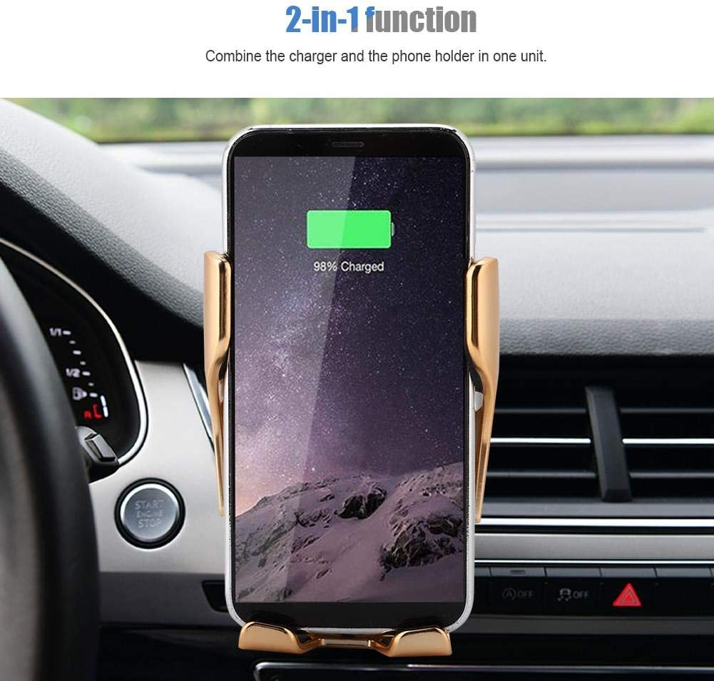 Lazmin Wireless Smart Car Charger Mount 10W QI Fast Wireless Clamping Mobile Phone Holder Charger Silver 110-205K Hz