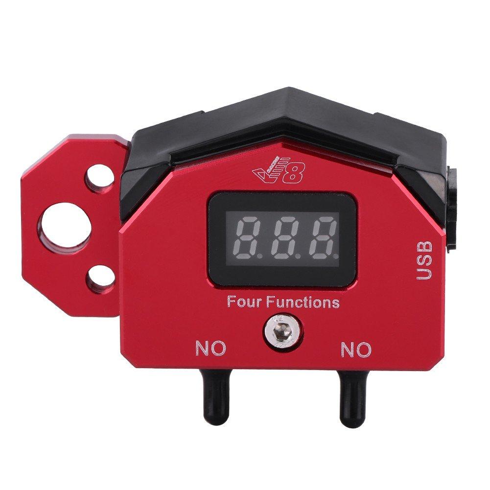 manubrio moto Interruttore pulsante ON//OFF W//visualizzazione tensione Caricatore USB per cellulare GPS Interruttore manubrio