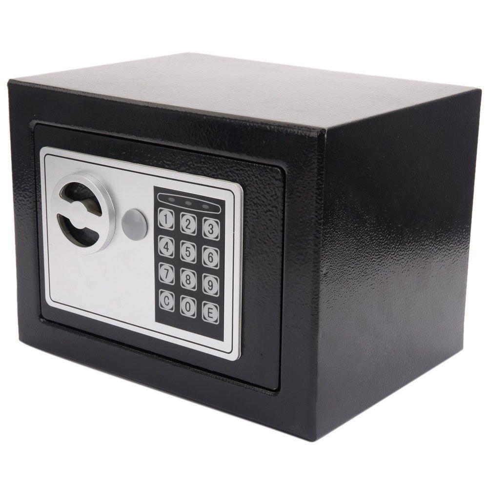 Black 9'' x 6.8'' Digital Electronic Safe Box w/Keypad Lock & Key with Ebook