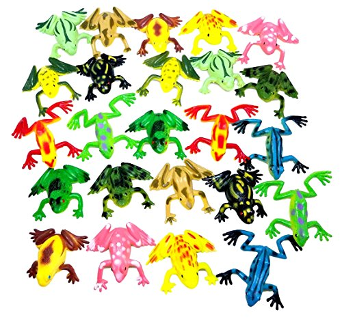 Izzy Designs Mini Frog & Toad Toy Figures Play Set, 24 ct (2 Sets 12)- Kids Halloween Party Favor, Piñata Filler, Educational Counting, & Sensory Toy, Assorted Colors