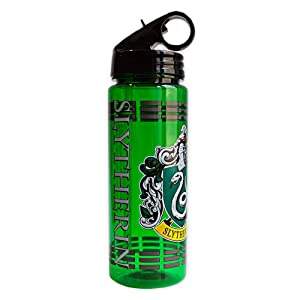 Silver Buffalo HP0664 Warner Brothers Harry Potter Movie 1-8 Slytherin Crest with Dashes Tritan Water Bottle, 20-Ounces
