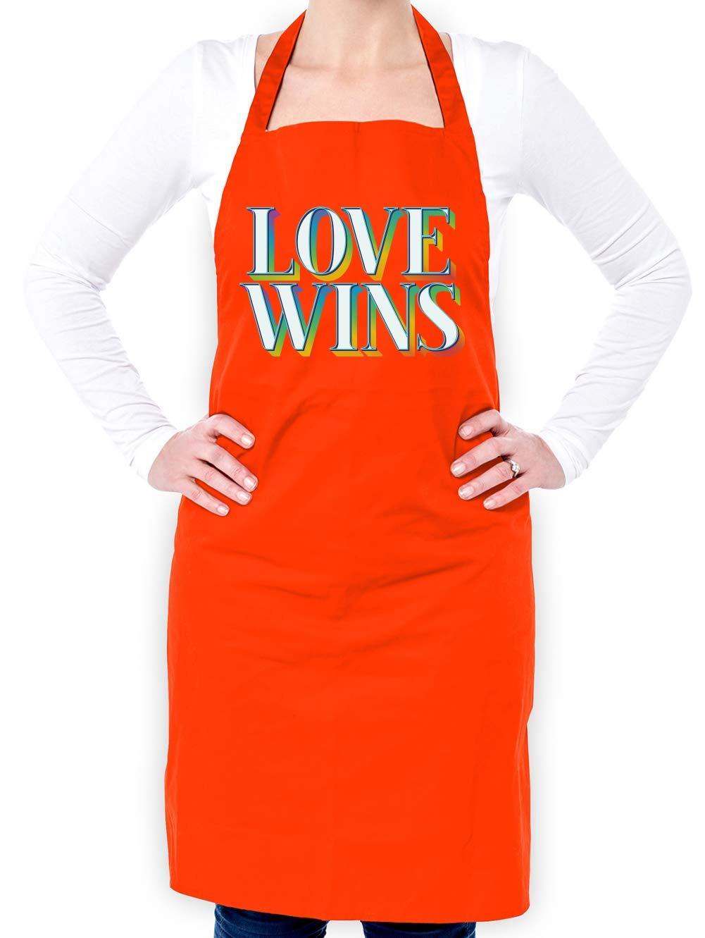 Dressdown Love Wins - Unisex Adult Apron - Orange - One Size