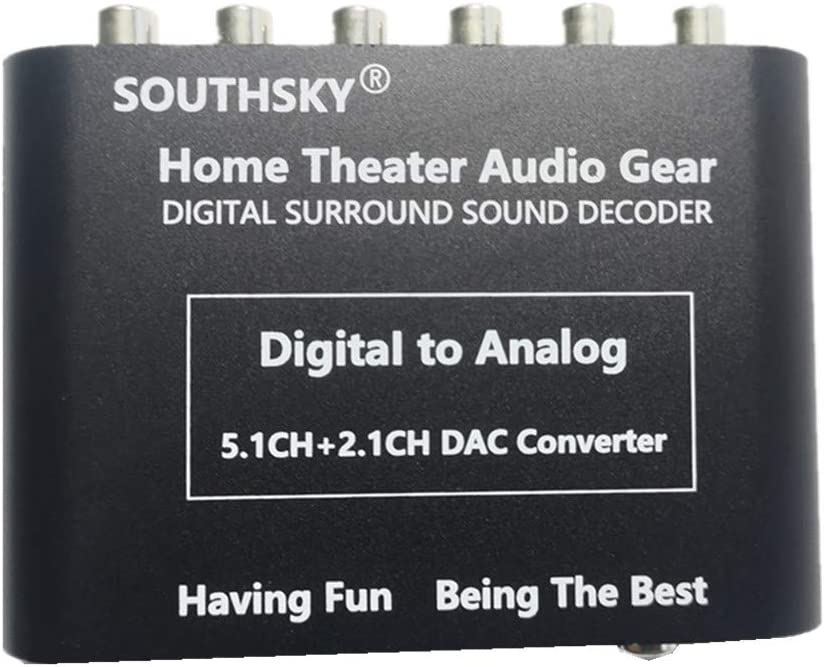 SOUTHSKY 5.1 Audio Rush Digital Sound Decoder Converter - Optical SPDIF, Coaxial to 5.1CH Analog Audio (6RCA Output)