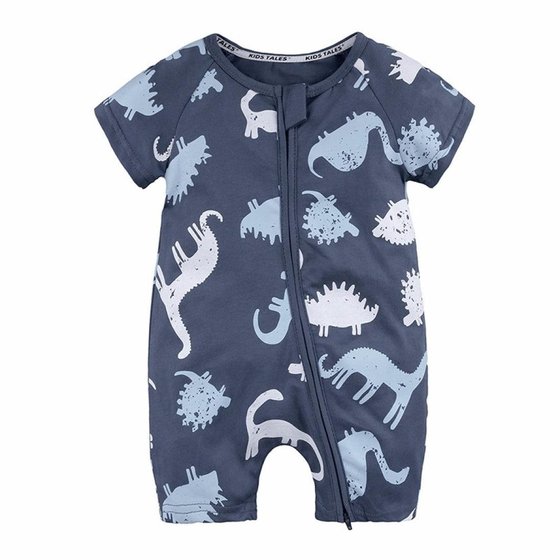Boys Rompers, SHOBDW Baby Kids Girls Dinosaur Printed Zipper Short Sleeve Jumpsuit Toddler Newborn Summer Outfits Clothes Pajamas Gifts SHOBDW-030