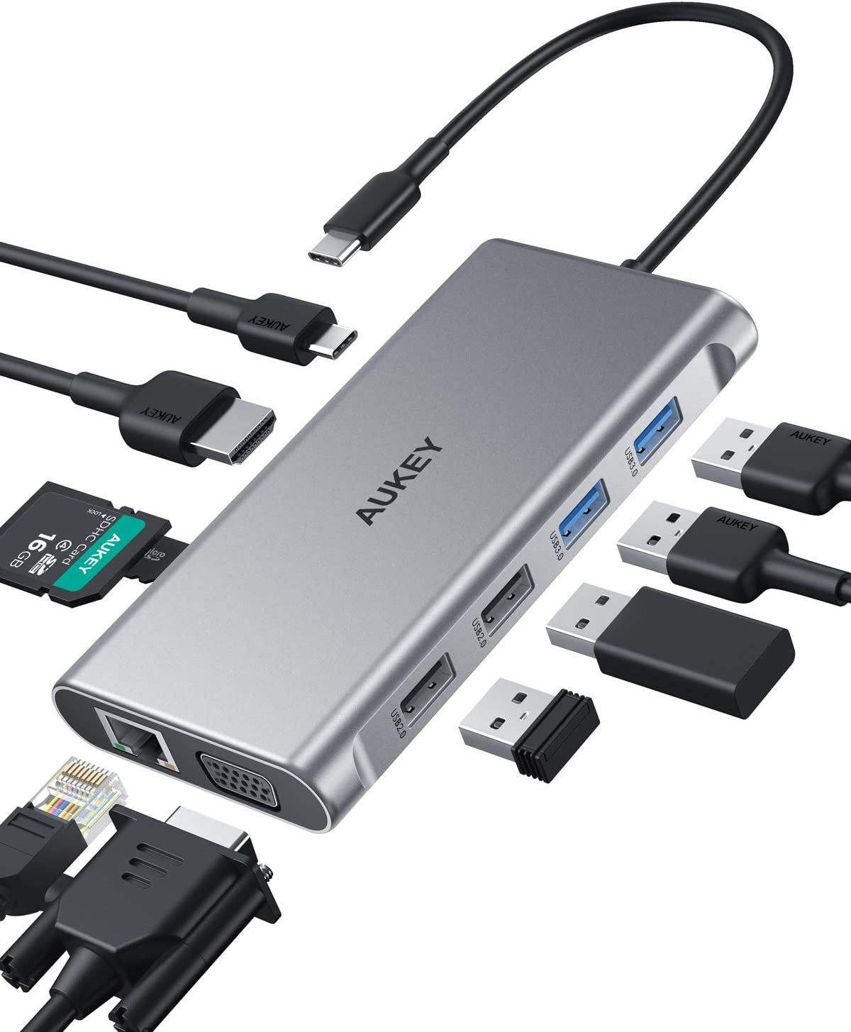 AUKEY USB C Hub 10-in-1 Type C Adapter with Ethernet, 4K HDMI,VGA,2 USB 3.0,2 USB 2.0,100W PD,USB-C Data Port and SD/TF Docking Station for MacBookPro/Air(Thunderbolt 3) and Other USB-C Laptops
