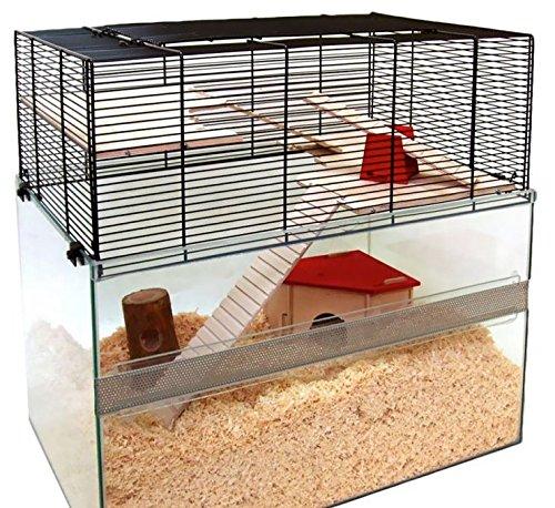 Lusso roditori gabbia con accessori – 2 livelli interni mensola in vetro con base profonda che incoraggia i vostri animali scavare Behavior
