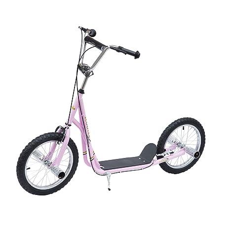 Homcom Patinete Scooter 2 Ruedas 16 Pulgadas Monopatín para Niños y Adultos Manillar Ajustable con 2 Frenos y Caballete Carga 100kg 143x58x92-100cm ...