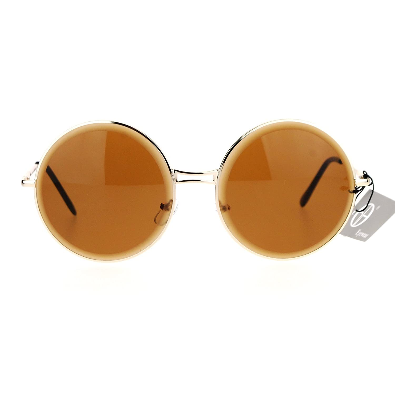 ec8d75afd Amazon.com: SA106 Beveled Edge Mirrored Lens Round Circle Lens Sunglasses  Gold Brown: Clothing