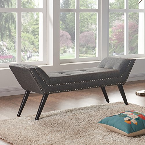 Armen Living LCPOBECH Porter Bench in Charcoal Fabric and Black Metal Finish