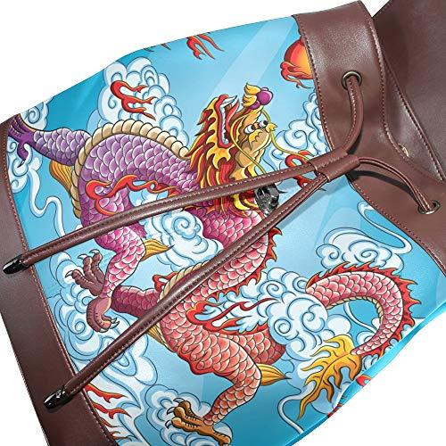 Dragonswordlinsu Para Talla Mochila Mujer Bolso Única Piel De Multicolor qn1w4qa