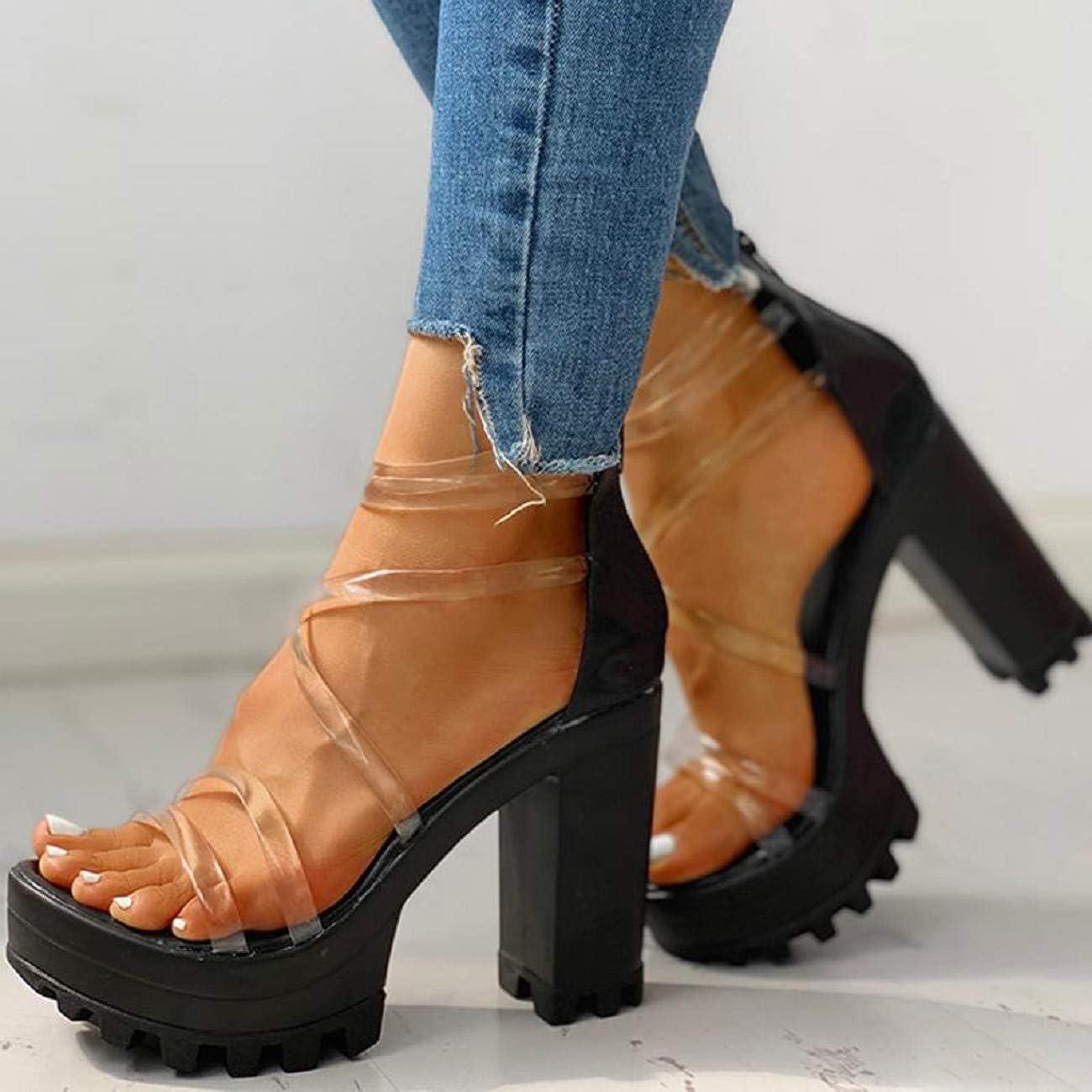 JKLING Womens Transparent Straps Sandals Chunky HIgh Heel Elegant Sandals Back Zippered Platform Shoes