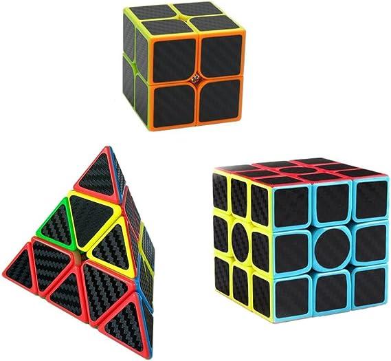 Tocone Fibra del Carbón Cubo Mágico Juego de 3 Pack 2x2x2, 3x3x3 ...