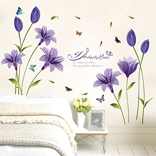 Colorful Lily Removable Vinyl Decal Mural Wall Stickers vinyl Home Decor