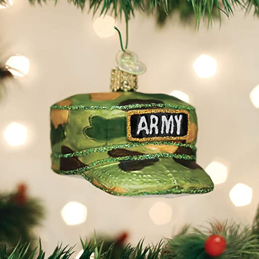 Old World Christmas Army Cap Ornament Green Home Kitchen